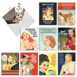 10 Retro Blank Note Cards for Women - Funny All Occasion Box