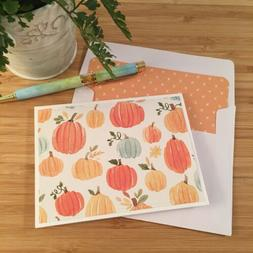 6 Handmade Autumn Pumpkins Note Cards with Lined Envelopes