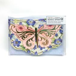 Punch Studio Butterfly Blank Note Cards w/ Gold Color Foil 1