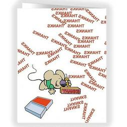 Cute Mouse Thank You Note Card - 18 Boxed Cards & Envelopes