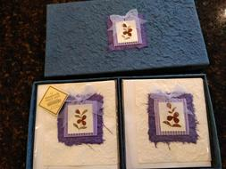 HANDMADE BLANK NOTE CARDS W/ENVELOPES~SET OF 12~GIFT BOXED~R