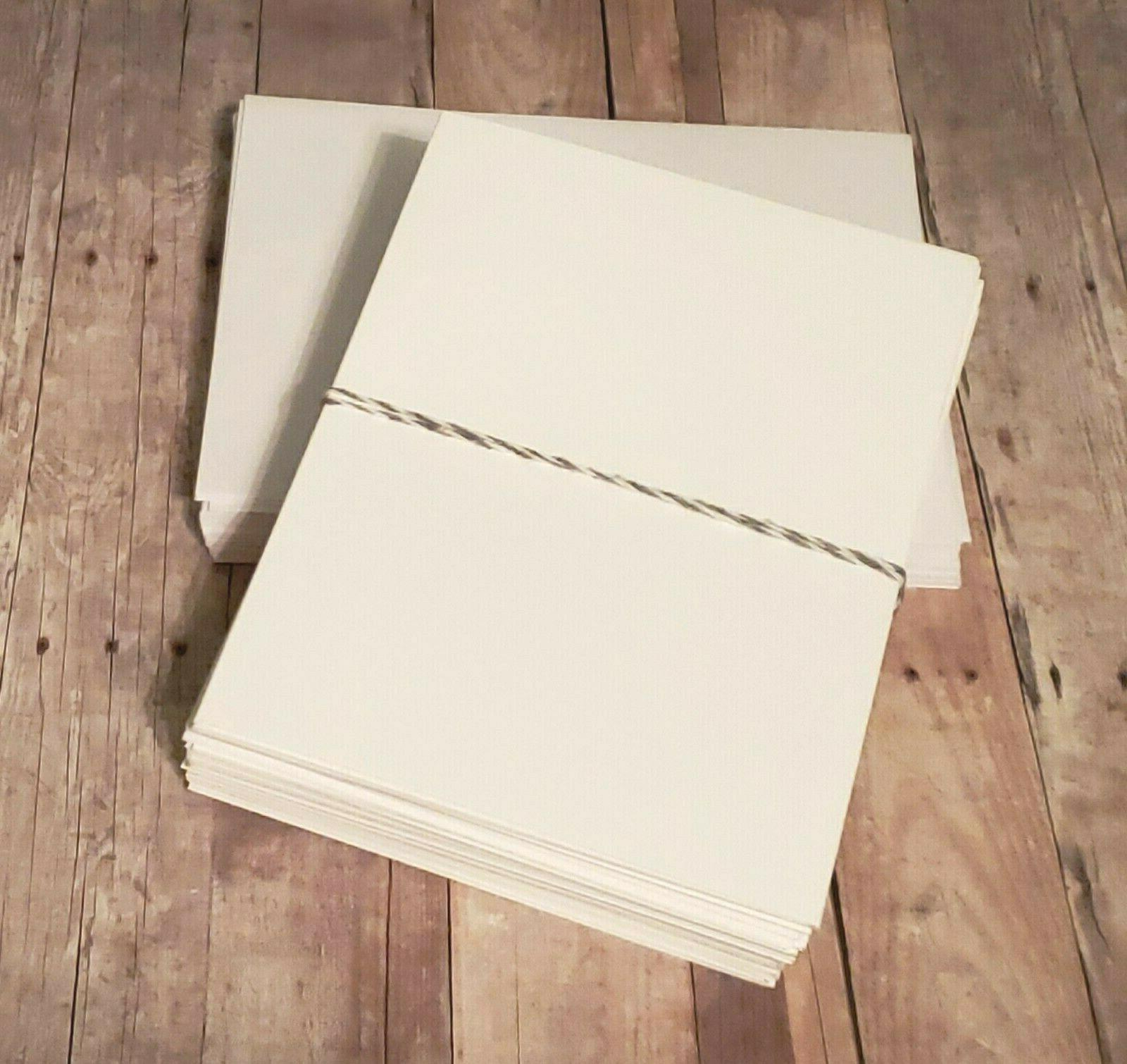 25 white blank folded note cards