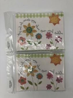 lot of 2 flower floral blank note