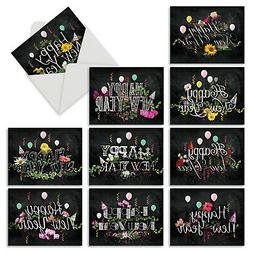 M2358NYG New Year Chalk & Roses: 10 Assorted Happy New Year