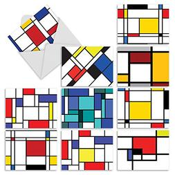 M3039 CUBISM: 10 Assorted All-Occasion Note Cards w/Matching