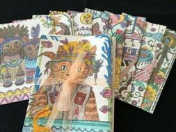 WHIMSICAL CATS theme blank note cards.  Set of 8.
