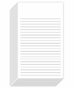 """White Ruled Vertical Index Note Cards, 3"""" X 5"""" Inches 