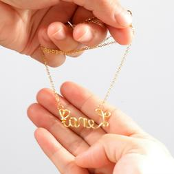 Name Necklace Gold ,Custom Necklace, Gold Wire Name Necklace